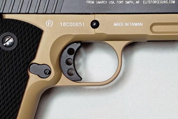Elite Force 1911 TAC trigger close up