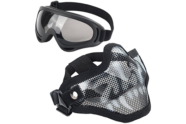 LAOSGE Airsoft Mask Mesh Half Face Skull Set with Goggles