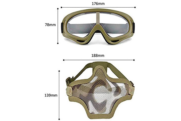 Outgeek Airsoft Half Face Mask Dimensions